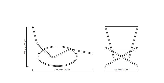 Loop black Gartenliegestuhl Rahmen Edelstahl satiniert