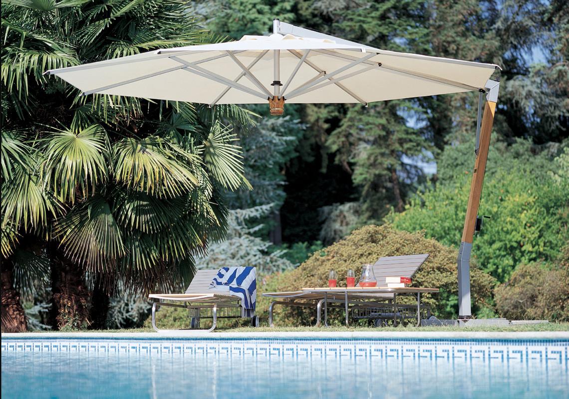 Ampelsonnenschirm Capri Teak Silber rechteckig 300 x 350 cm Mast seitlich mit Kurbelbedienung