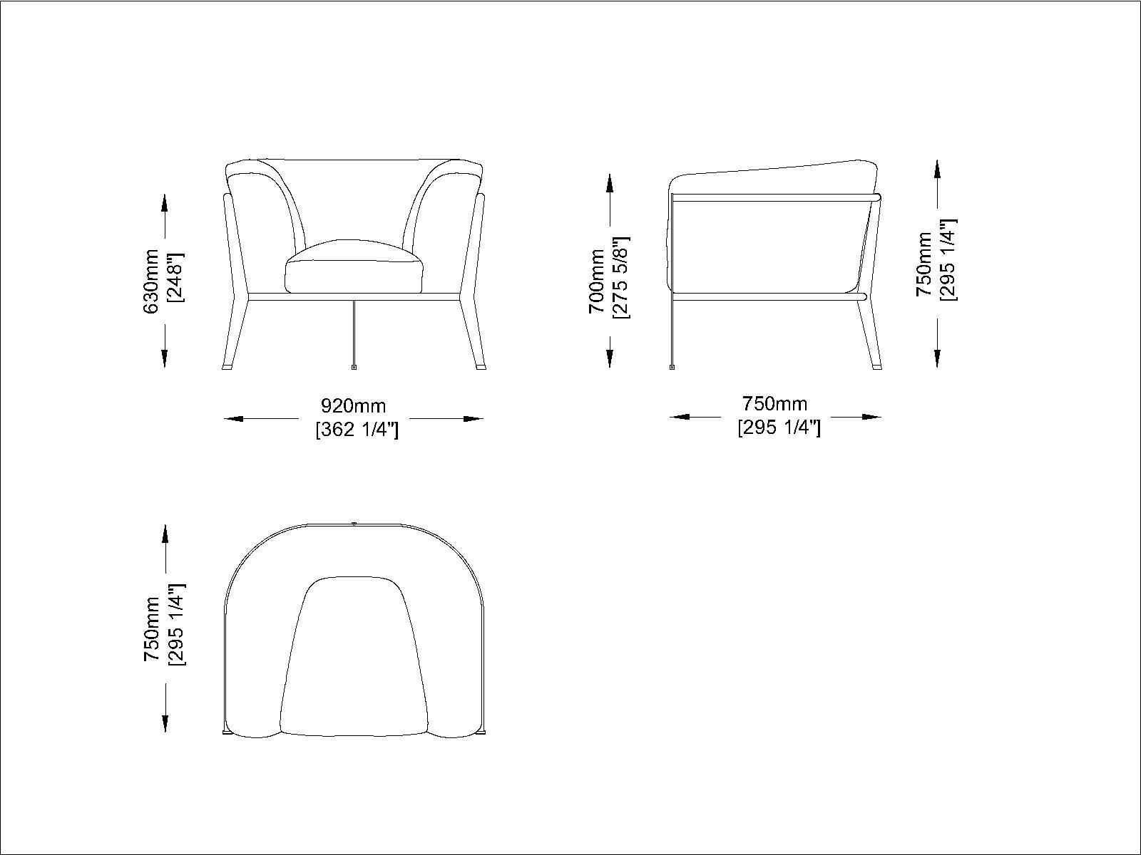 Coro Clea Sessel 920 x 750 x 630 mm Rahmen Edelstahl beschichtet