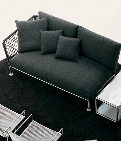 Coro Nest 90 Sofa 1970 x 1075 x 790 mm mit Stabrücken abnehmbarer Stoffbezug Rahmen Edelstahl satiniert links ohne Armlehne