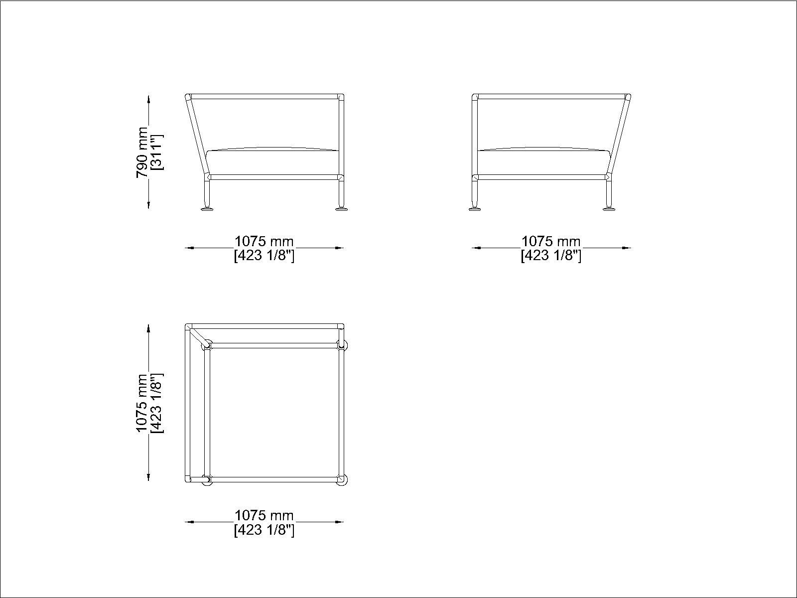 Coro Nest 90 Sofa 1075 x 1075 x 790 mm mit Stabrücken abnehmbarer Stoffbezug Rahmen Edelstahl satiniert