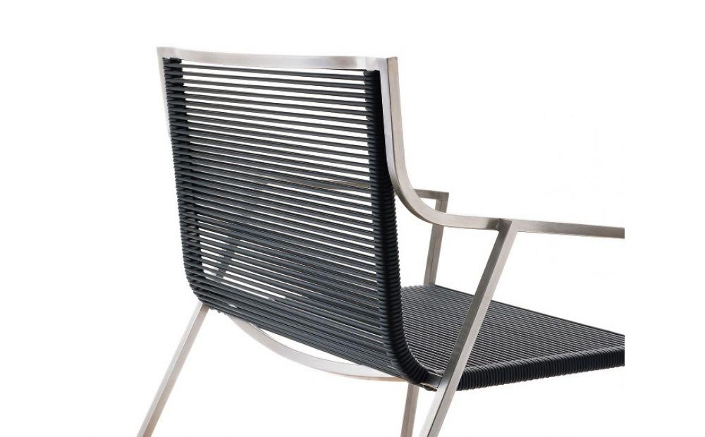 Coro SG1 SB Armlehnstuhl PVC Geflecht 3 oder Acryl 6 mm Rahmen Edelstahl satiniert