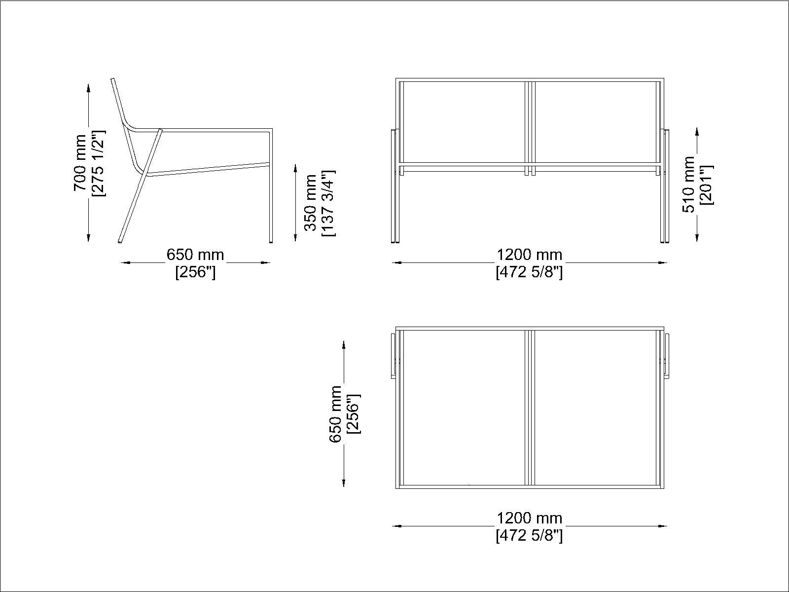 Coro SG1 zweier Sitzbank mit PVC Schnur 3 mm oder Acrylschnur 6 mm Rahmen Edelstahl satiniert