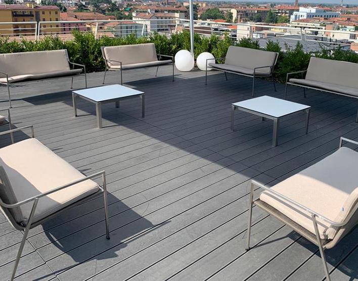 Coro Shot Outdoor Beistelltisch quadratisch 900 x 900 x 350 mm Rahmen Edelstahl satiniert