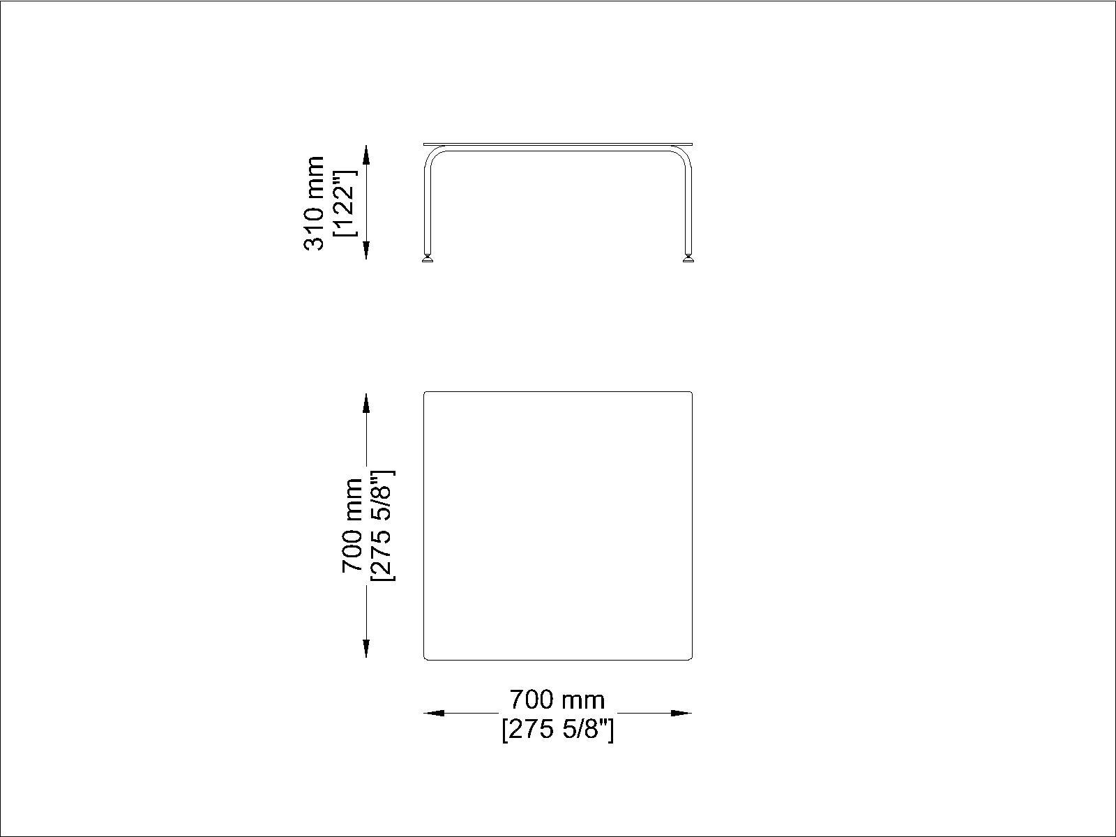 Coro Jubeae Tisch quadratisch 700 x 700 x 310 mm Rahmen Edelstahl satiniert oder pulverbeschichtet