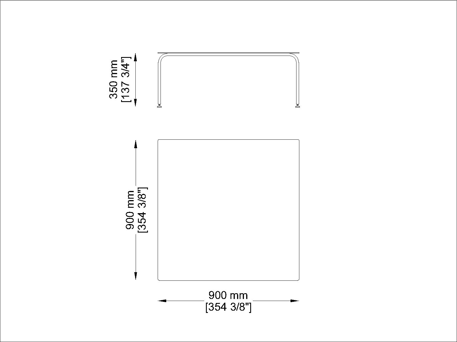 Coro Jubeae Tisch quadratisch 900 x 900 x 350 mm Rahmen Edelstahl satiniert oder pulverbeschichtet