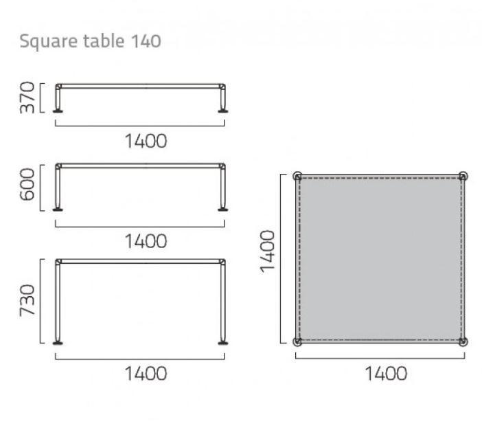 Coro Nest Tisch quadratisch 140cm Tischplatte Stein Rahmen Edelstahl satiniert