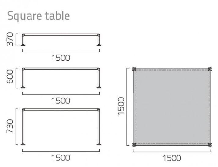 Coro Nest Tisch quadratisch 150cm Tischplatte aus Aluminium Rahmen Edelstahl satiniert