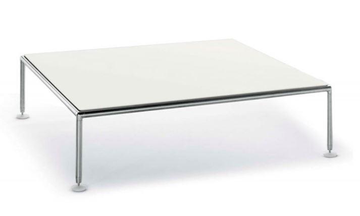 Coro Nest Outdoor Lounge Tisch quadratisch 150cm Tischplatte weiss aus Aluminium Rahmen Edelstahl satiniert