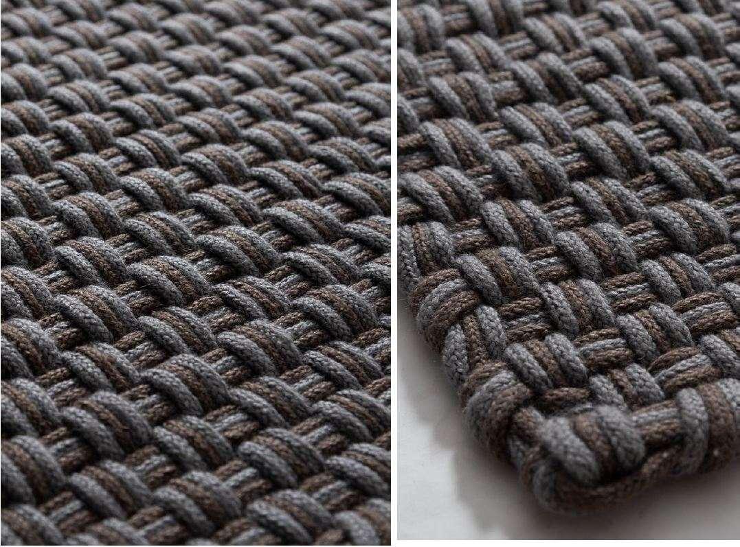 Design Outdoor Teppich handgeknüpft rechteckig in taupe und grau