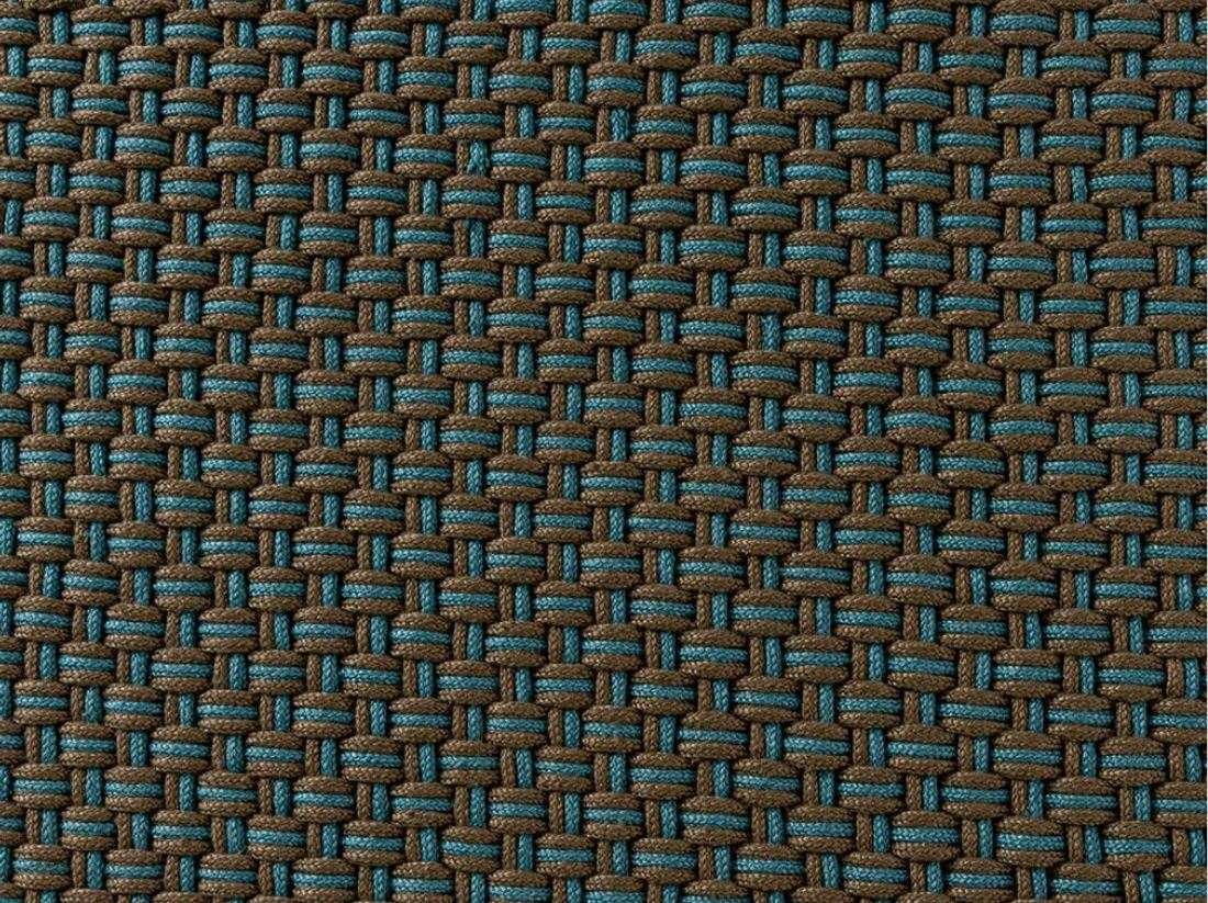 Design Outdoor Teppich handgeknüpft rechteckig in taupe und hellblau
