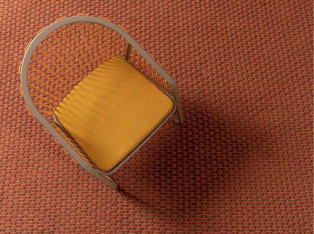 Design Outdoor Teppich handgeknüpft rechteckig in taupe und orange