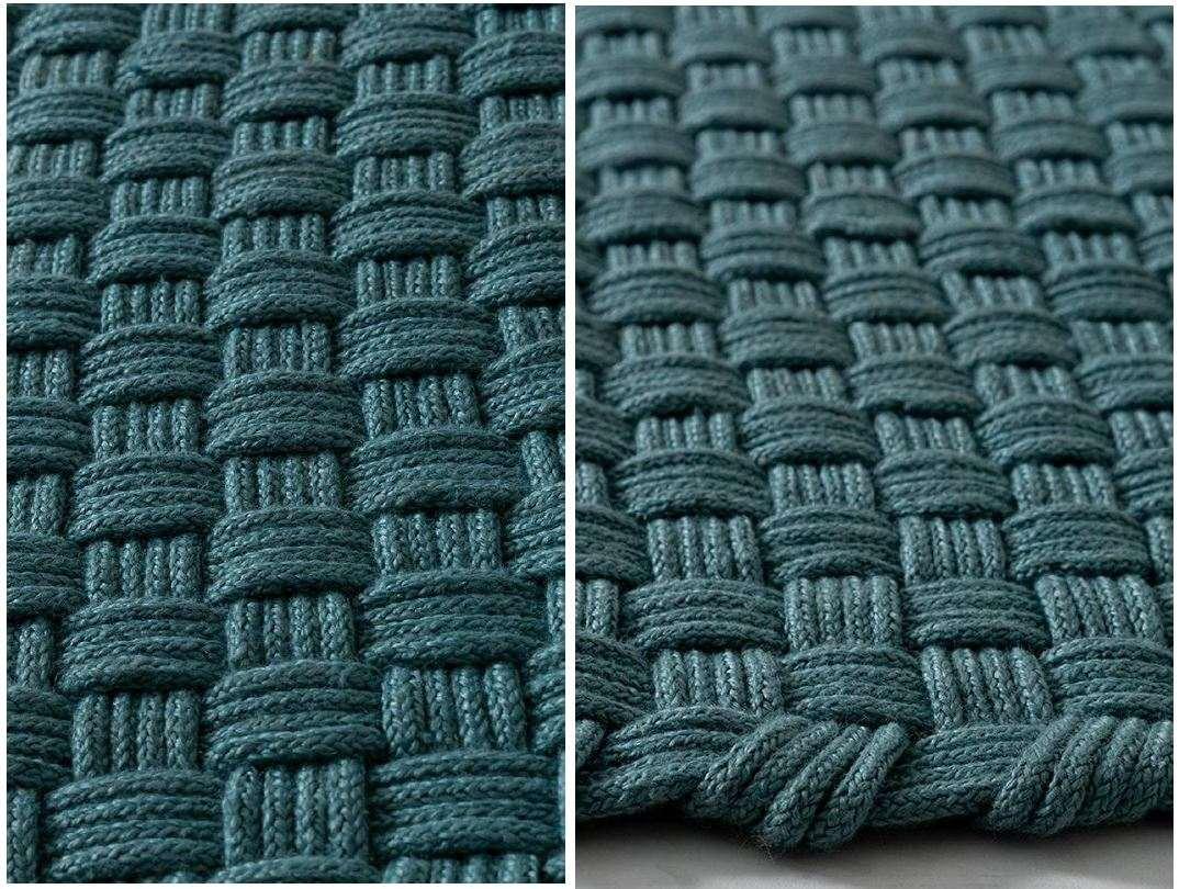 Design Outdoor Teppich handgeknüpft rechteckig in blau
