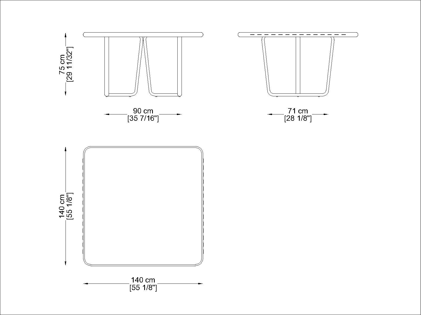 CORO Sally Tisch quadratisch 1400 x 1400 mm