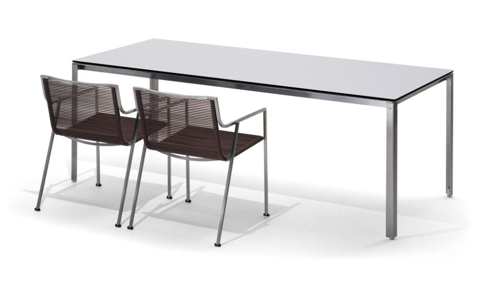 Coro Shot Outdoor Tisch rechteckig 1800 x 900 x 730 mm Rahmen Edelstahl satiniert Tischplatte mit Polyurethan-Lamellen