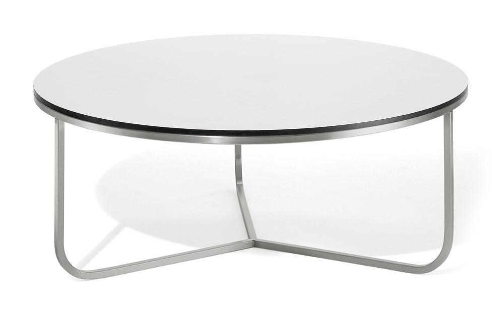 Coro SG1 Couchtisch rund 70cm Tischplatte Laminat Rahmen Edelstahl satiniert