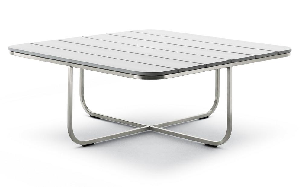 Coro SG1 Couchtisch quadratisch 70cm Tischplatte Polyurethan Belattung Rahmen Edelstahl satiniert