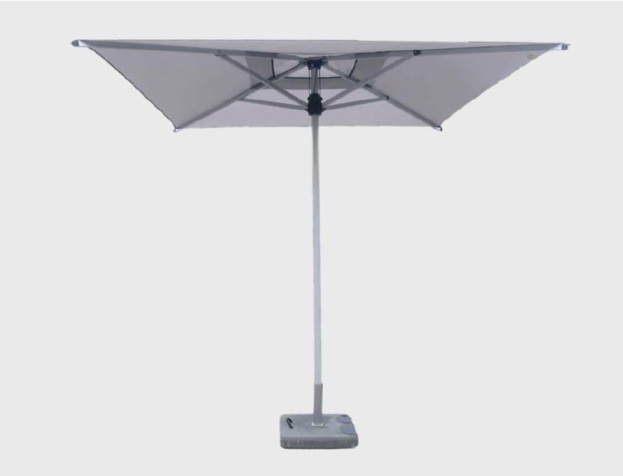 Alu Mittelmast Sonnenschirm quadratisch 240 x 240cm Bedienung mit Seilzug