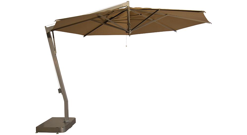 Ampelsonnenschirm Capri rund 400 cm mit Kurbelbedienung Bezug lt. Kollektion Konstruktion Teak Silber