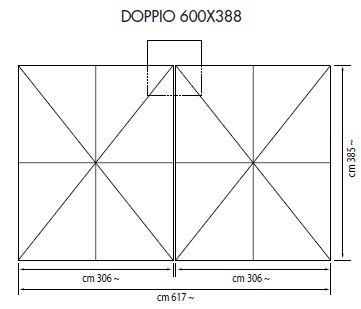 Ampelschirm mit Zentralmast Doppio rechteckig 600 x 388 cm mit doppelte Kurbelbedienung Bezug lt. Kollektion Konstruktion silber