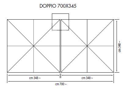 Ampelschirm mit Zentralmast Doppio rechteckig 700 x 345 cm mit doppelte Kurbelbedienung Bezug lt. Kollektion Konstruktion silber