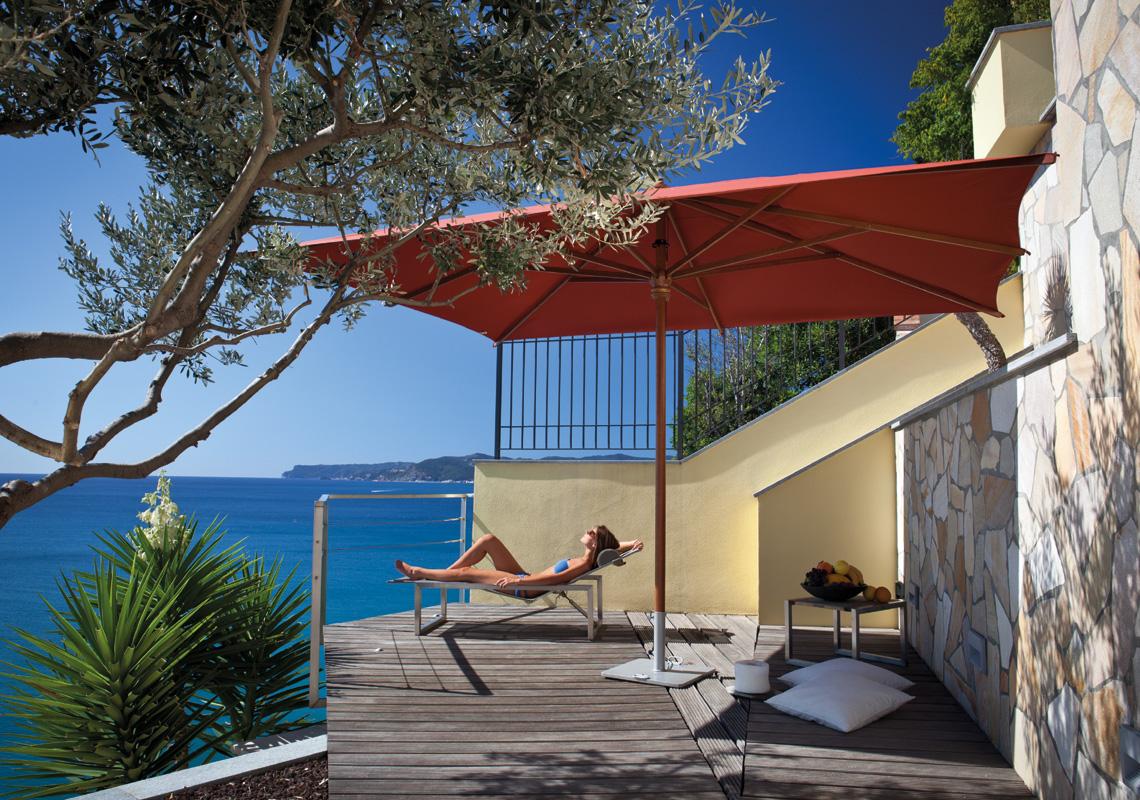 Mittelmast Sonnenschirm Lipari 300 x 400 cm mit Seilzugbedienung Bezug lt. Kollektion Konstruktion Holz