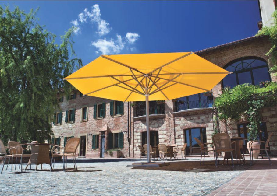 Mittelmast Sonnenschirm Maxi quadratisch 400x400cm mit Kurbelbedienung und Teleskopvorrichtung