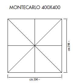Hartholz Mittelmast Sonnenschirm Monte Carlo Teleskop quadratisch 400 x 400 cm mit Kurbelbedienung Bezug lt. Kollektion Konstruktion Holz