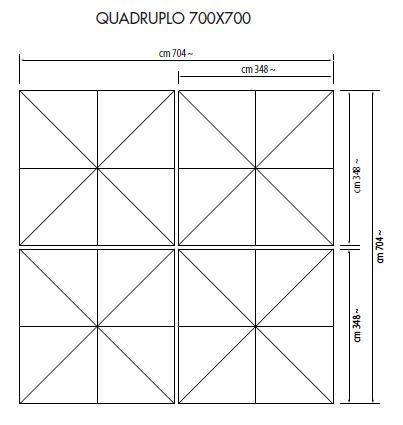 Ampelschirm mit Zentralmast Quadruplo quadratisch 700 x 700 cm Kurbelbedienung Bezug lt. Kollektion Konstruktion silber