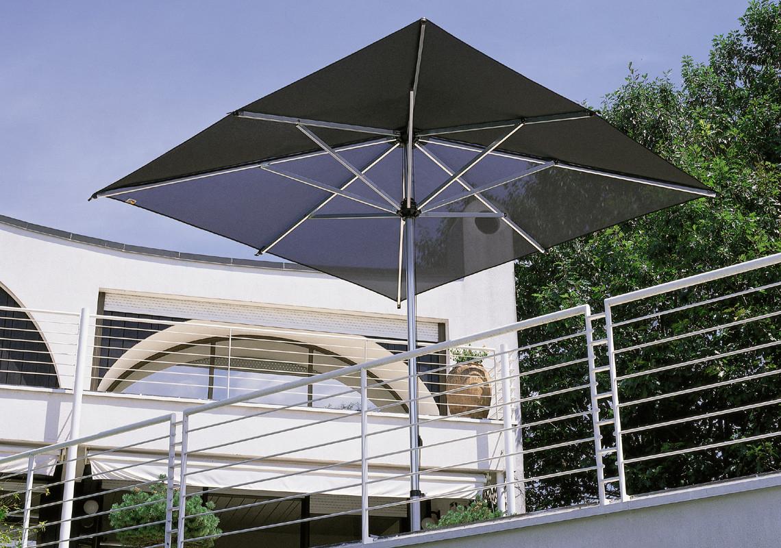 Mittelmast Sonnenschirm Reflex quadratisch 300 x 300 cm mit Windauslass mit Seilzugbedienung Bezug lt. Kollektion