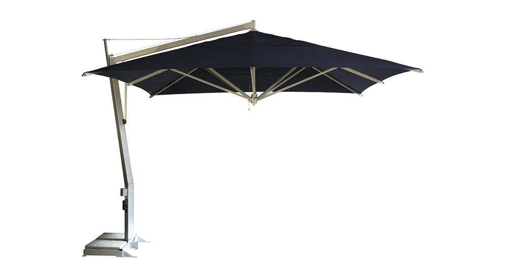 Ampelschirm Sonnenschirm Singolo quadratisch 388 x 388 cm mit Kurbelbedienung Bezug lt. Kollektion Konstruktion silber