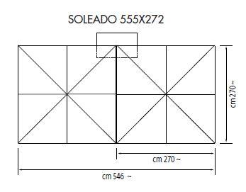 Ampelschirm mit Zentralmast Soleado rechteckig 555 x 272 cm Kurbelbedienung Bezug lt. Kollektion Konstruktion graphit