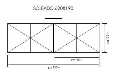 Ampelschirm mit Zentralmast Soleado rechteckig 620 x 190 cm Kurbelbedienung Bezug lt. Kollektion Konstruktion graphit