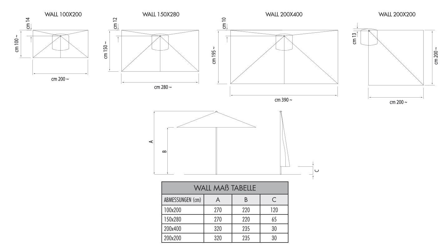 Wand Sonnenschirm Wall rechteckig 150 x 280 cm mit Seilzugbedienung Bezug lt. Kollektion Konstruktion graphit