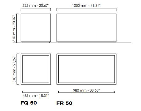 Blumentrog FQ50 Edelstahl satiniert quadratisch 52,5cm Höhe 51cm50