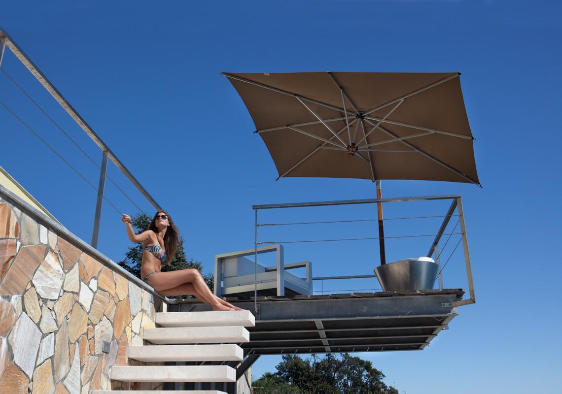 Alu Ampelsonnenschirm Ischia quadratisch 280 x 280 cm mit Kurbelbedienung